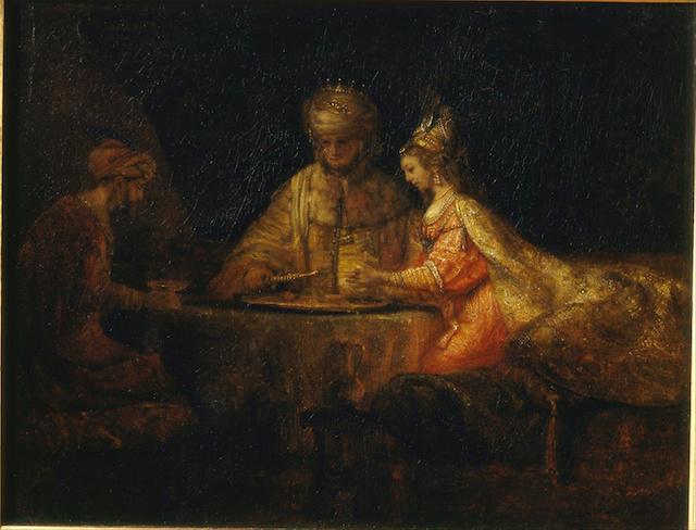 Rembrandt_Harmensz_van_Rijn_-_Ahasuerus_Haman_and_Esther_-_Google_Art_Project