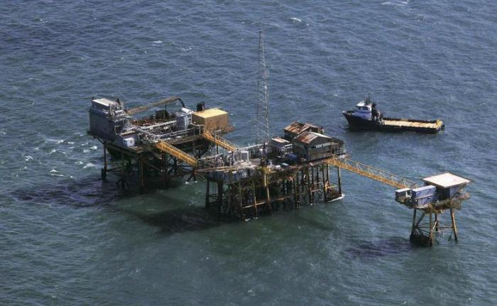 File photo of rescue crews surrounding Black Elk oil platform in the Gulf of Mexico